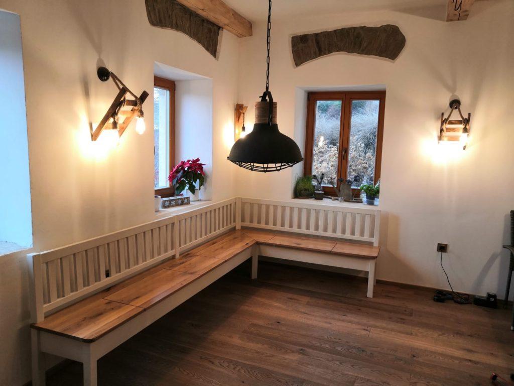 Selská dubová lavice do interiéru 1